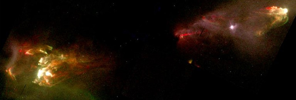 Herbig–Haro objects HH1 and HH2, gas jets in  Orion