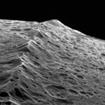 Iapetus. Close-up of its ridge that is about 15 kilometers high, and 50 kilometers wide