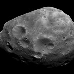 Mars's largest moon Phobos, 22 kilometres in diameter (13 miles) and orbits Mars at just 9,300 kilometres (5,800 miles) away