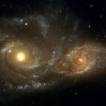 NGC 2207 and IC 2163 are a pair of colliding spiral galaxies, 80 million ly away in Canis Major. NGC 2207 is tidal stripping IC 2163. three supernovae have been observed in it (SN 1975A, SN 1999ec and SN 2003H)