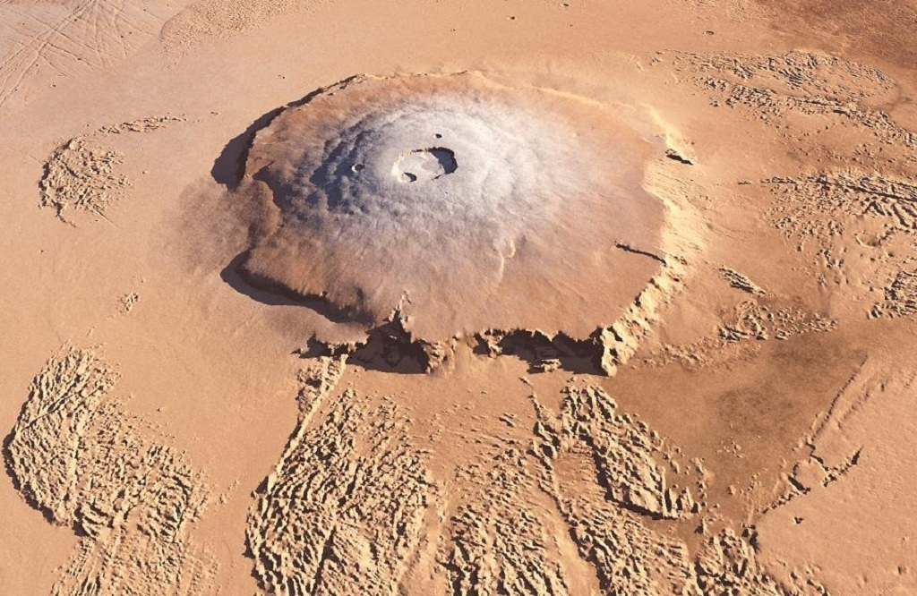 Olympus Mons, a large volcanic mountain on Mars