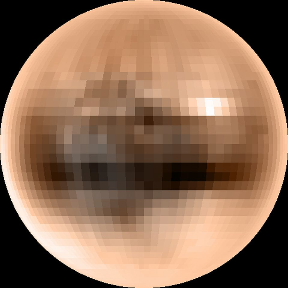 Pluto's brown color is thought dominated by frozen methane deposits metamorphosed by faint but energetic sunlight. The dark band below it's equator is indicating that some unknown mechanisms have affected it's surface
