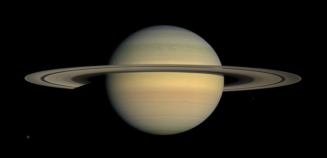 Saturn, a ringed gas giant