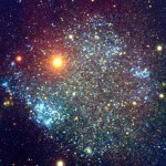 Sextans A (UGCA 205) is a tiny dwarf irregular galaxy with a high star formation that spans about 5000 ly across, 4.3 million ly away  in Sextans