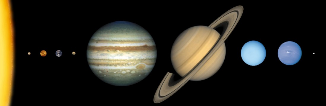 Solarsystem to scale