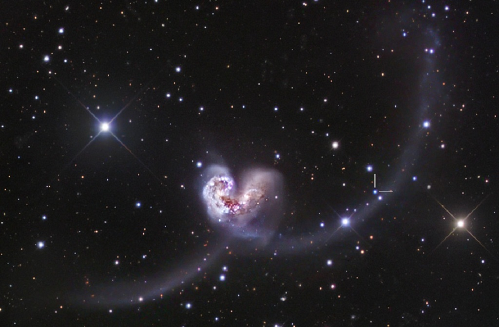The Antennae Galaxies, a pair of merging galaxies in Corvus