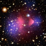 The Bullet cluster (1E 0657-558) consists of two colliding galaxy clusters in Carina. Most of the matter in the clusters (blue) is separate from the normal matter (pink), giving evidence that all of the matter is dark