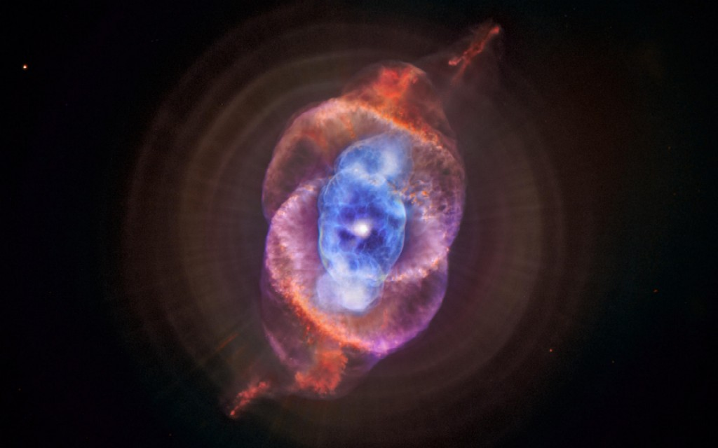 The Catseye Nebula (NGC 6543) is a planetary nebula 3300 ly away in Draco. It has eleven rings, or shells, of gas, and reveals knots, jets, bubbles and sinewy arc-like features, and shows molecular hydrogen and Argon
