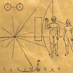 The Pioneer Plaque was an engraving taken aboard the Pioneer 10 and 11. It featured a nude male and female, along with several symbols designed to tell extraterrestrials about humans and the location of the Earth