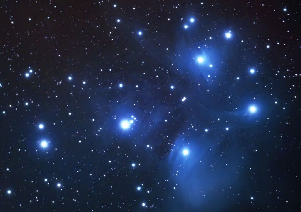 The Pleiades, the famous open star cluster in Taurus ...