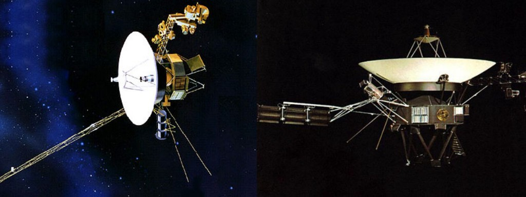 The Voyagers, Launch September 5, 1977 (Voyager 1, left), August 20, 1977 (Voyager 2, right)
