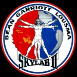 This is the emblem for the second manned Skylab mission. The Vitruvian Man is the central figure, adapted from one by Leonardo da Vinci. The patch denotes this mission as Skylab II, but was actually on Skylab III