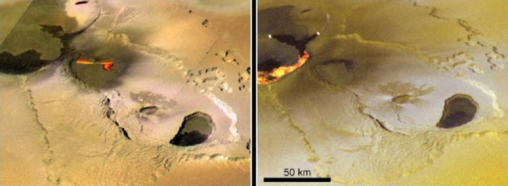 Tvashtar Catena, an active volcanic region on Jupiter's moon Io