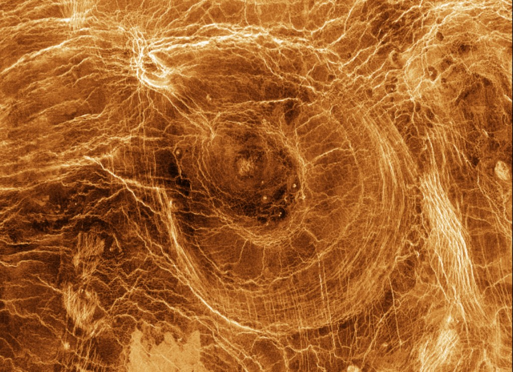 Venus. This is a composite image, dated 20 January 1998, of a Venusian arachnoid, built up from radar echoes from the Magellan spacecraft that orbited Venus from 1990 to 1994