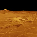 Venus's Eistla Regio in 3D view, produced from Magellan radar data