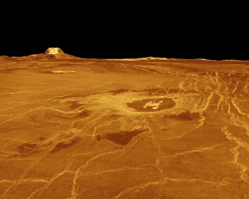 Venus's Eistla Regio in 3D view, produced from Magellan radar data
